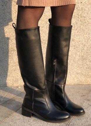 Натуральные кожаные сапоги-трубы демисезон чёрные, 36-40