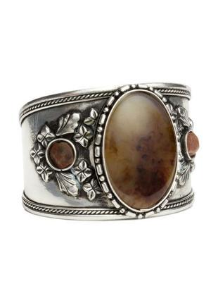 🐼 широкий браслет в этно-стиле с натуральными камнями от h&m оригинал
