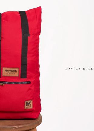 Рюкзак «mavens rolltop» для ручной клади wizz air ryanair (40х20х25) цвет красный4 фото