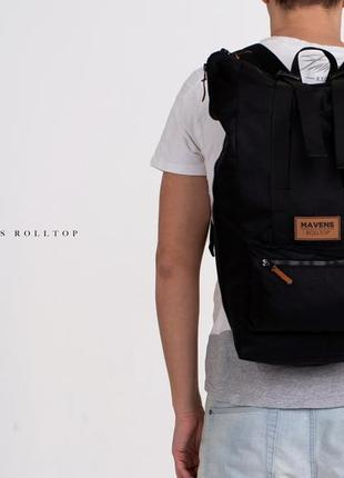 Рюкзак «mavens rolltop» для ручной клади wizz air ryanair (40х20х25) цвет черный7 фото