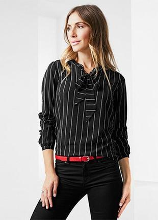 Черно-белая полосатая блуза с завязками от tchibo(германия)