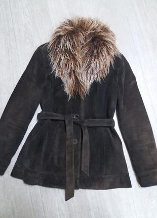 Куртка next натуральный замш (дубленка)