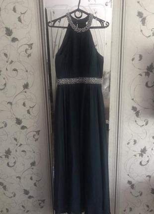 Изумрудное длинное платье на выпускной, вечернее