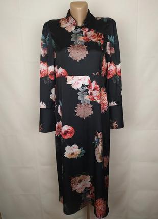 Платье стильное длинное легкое в японском стиле zara uk 14/42/l