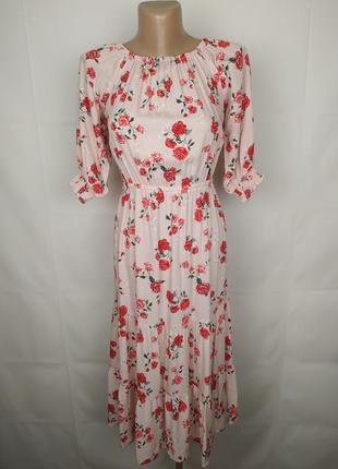 Платье новое модное в цветы оригинал маленького размера h&m uk 4