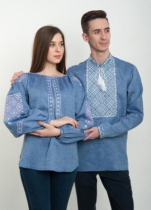 Льняна сорочка синя з вишивкою