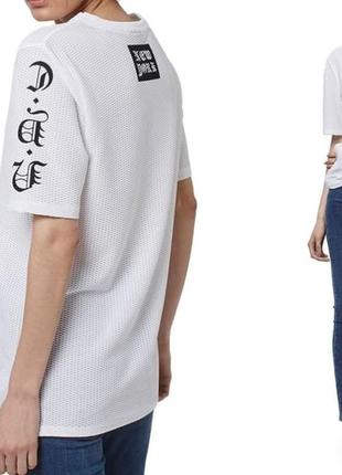 Сетчатая футболка платье оверсайз сетка топ туника с надписью в стиле 90-х