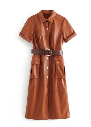 Коричневое платье из кожзама. пояс в комплекте!