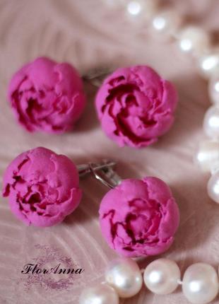 """Розовые серьги цветы ручной работы """"пионы цвета фуксия""""(1пара)"""