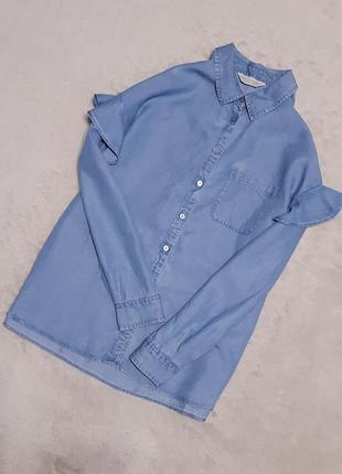 Джинсовая рубашка с рюшей на рукаве свободного стиля размер 8-10 f&f