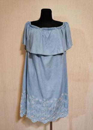 Лёгкое джинсовое платье сарафан с открытым плечами