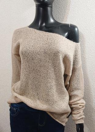 Летний бежевый свитер итальянский мохер
