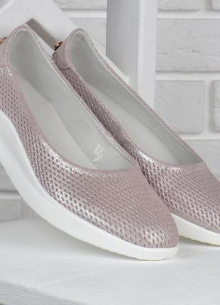 Туфли женские кожаные турция на танкетке розовое серебро с жемчужиной