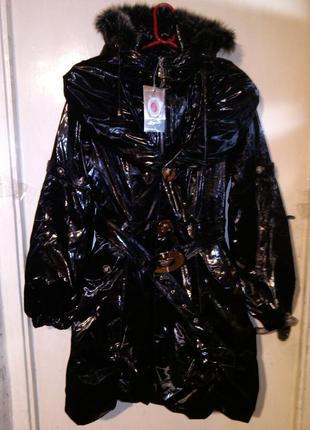 Новая,с бирками,роскошная,лаковая куртка-плащ-трансформер,с поясом,съёмным капюшоном