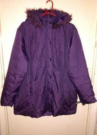 Демисезонная,утеплённая,куртка на синтепоне,с капюшоном,большого 16-22размера