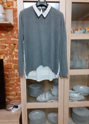 Милый комбинированный с белым воротником блузон большого размера
