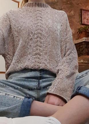 Вязаный велюровый свитер