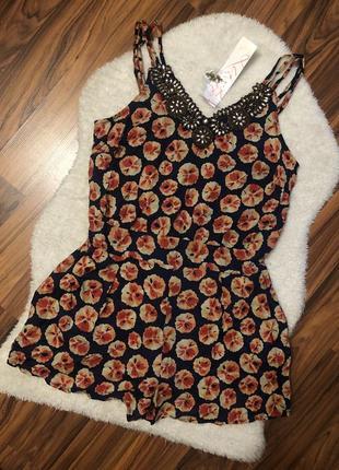 Шикарный легкий нарядный ромпер в цветы с вышивкой из бисера