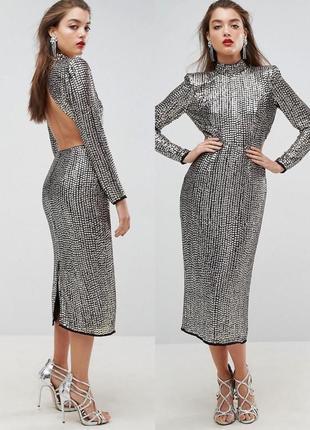 Эксклюзивное платье, декорированное фактурными пайетками