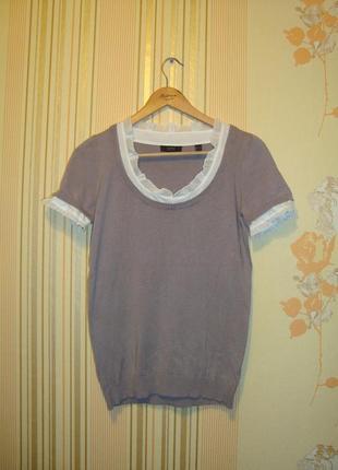 Трикотажная футболочка кофточка с батистовой отделкой