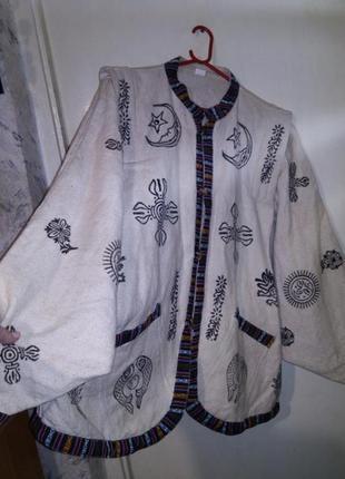 100%коттон-лён,куртка-жакет-кардиган,этно-бохо,с карманами,большого размера, непал