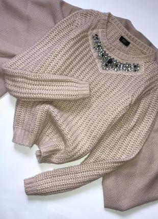 Шикарный пудровый акриловый свитер, джемпер, кофта крупной вязки с камнями f&f, p.s(36)