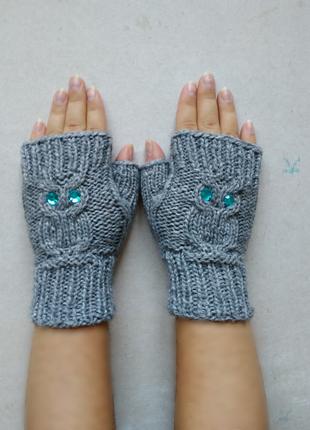 Теплые вязаные митенки перчатки рукавицы варежки без пальчиков совы серые