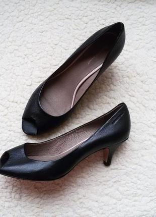 Кожаные туфли лодочки с открытым носком roberto santi 100% натуральная кожа