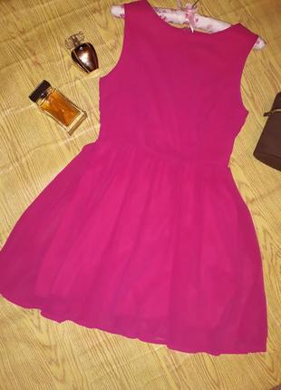 Розовое шифоновое платье