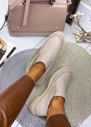 Рр 36-40 натуральная кожа люксовые интересные туфли светлый беж