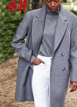 Cтильное двубортное оверсайз пальто 65% итальянская шерсть от h&m
