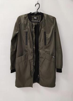 Бомбер удлинённый хаки ветровка куртка плащ staff