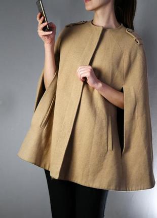 Крутое пальто-пончо с шерстью