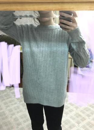 Кофта свитер джемпер вязанный тонкий мятный голубой бирюзовый натуральная шерсть