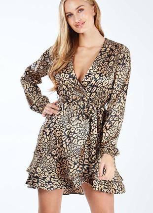 Платье с рукавом на запах с леопардовым принтом