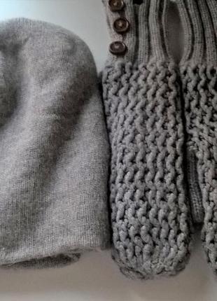 Теплые двойные варежки зимние +шапка в подарок