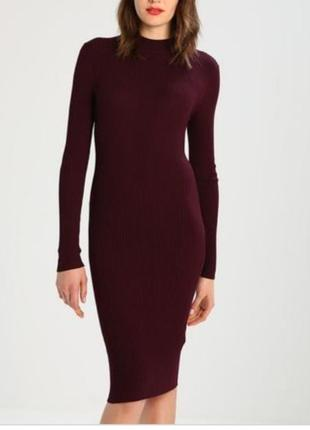Платье под горло в рубчик от zelando