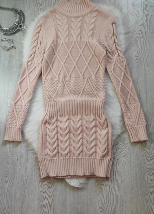 Розовое теплое платье свитер длинный шерсть вязаное плотное туника мини с косами узором