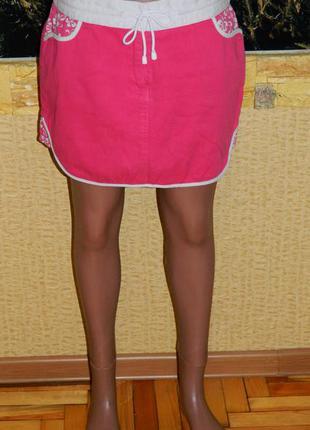 Юбка ярко - розовая с белым р. 42-44 new look (нью лук)