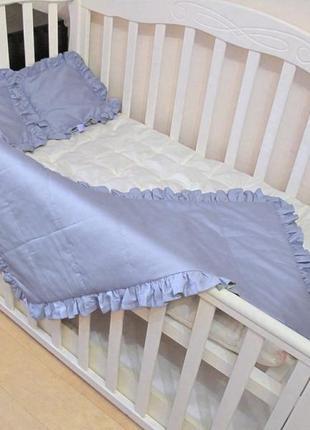Комплект baby flap cиреневый. детское одеяло - покрывало с рюшей в наборе с 2 подушками.