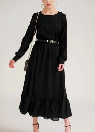 Платье черное длинное двойное клеш