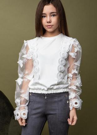 Очень красивая и стильная блузка с 3d рукавами
