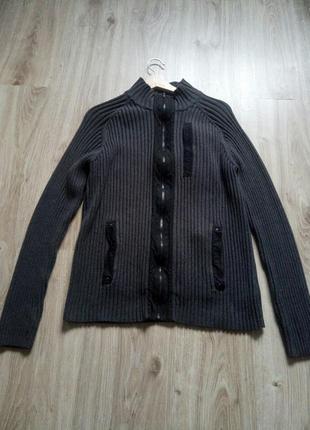 Серый мужской свитер/кофта в рубчик на молнии calvin klein, оригинал, l/g, 100% котон
