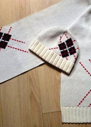"""Стильный комплект с ромбами """"colins"""" трикотажный - шапка и шарф"""