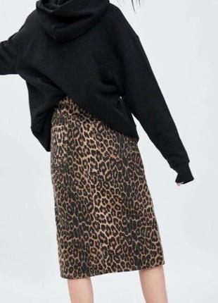 Джинсовая юбка zara леопард принт миди