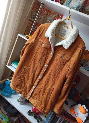 Вельветовая куртка меховушка шерпа denim co