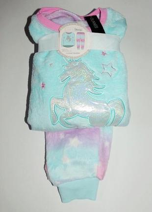 Пижама пушистый флис от dunnes, англия. размеры 3-4,5-6,7-8,9-10 лет