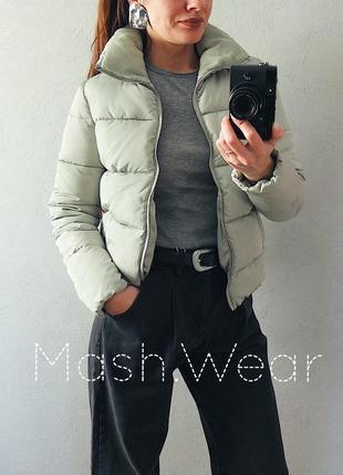 Дутая теплая куртка зима демисезон мятного цвета