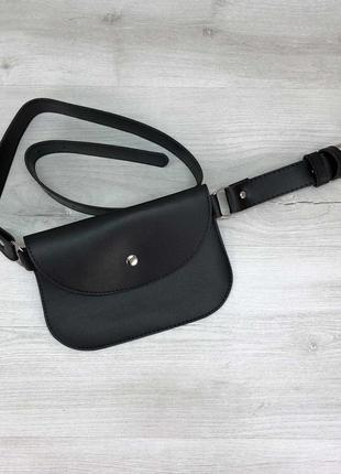 Черная базовая сумка на пояс клатч через плечо бананка