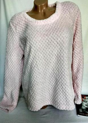 Теплая флисовая кофта для дома/сна , нежно розовая, фактура р. 2-3xl , от george